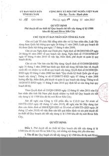 Quyết định phê duyệt quy hoạch 1/500 khu đô thị River Silk City
